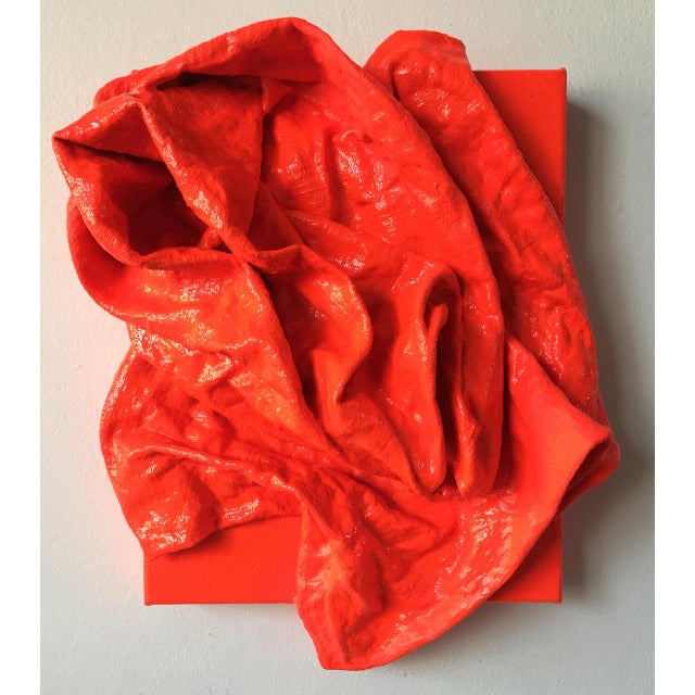 """""""Fluorescent Grenadine Folds"""" is a mixed media wall sculpture made with burlap and paint on linen. The elegant folds are..."""