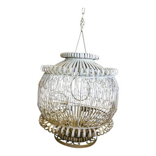 1920s Vintage Round Ornate Wrought Iron Exotic Bird Cage For Sale