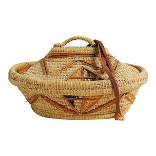 Coil Grass & Raffia Woven Lidded Basket For Sale