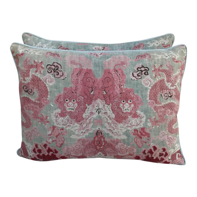 Chinoiserie Foo Dog Pillows - A Pair - Image 1 of 4