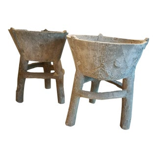 Faux Bois Cement Planters With Tripod Base Circa 1950, a Pair