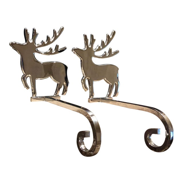 Vintage Reindeer Silver Plated Stocking Hangers - Set of 2 For Sale