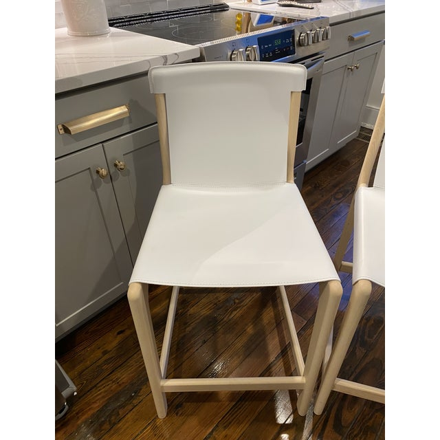 Leather Burano White Leather Sling Counter Stools- Set 3 For Sale - Image 7 of 10