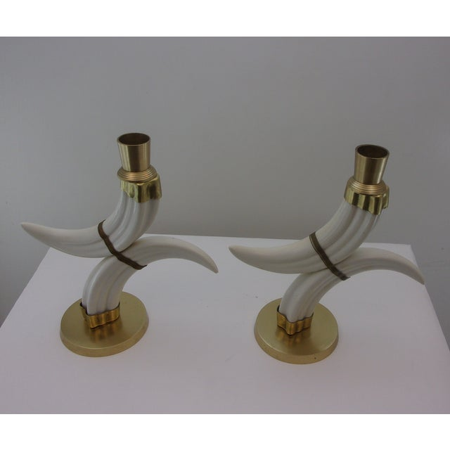 Vintage Tusk Candle Holders - Pair - Image 3 of 7