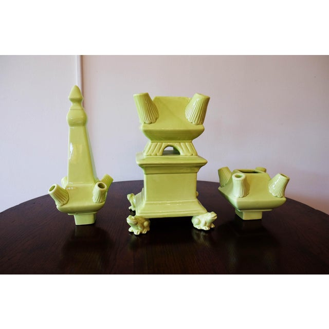 Green Frog Footed 3-Piece Tulipiere Tower For Sale - Image 4 of 7