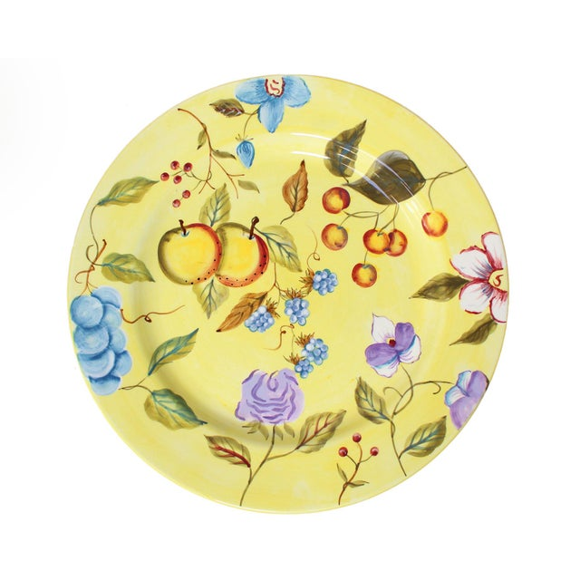 """Bright yellow and multi-colored fruit & flower motif hand-painted 11.25"""" diameter dinner plates in a discontinued and..."""