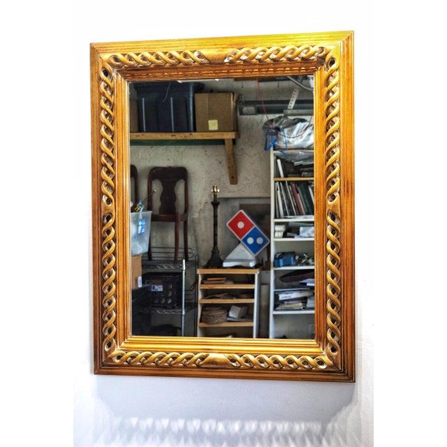 Vintage Mid-Century English Carved Walnut Barley Twist Mirror For Sale - Image 13 of 13