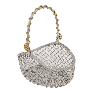 Vintage Italian Aluminum Basket With Brass Accents For Sale
