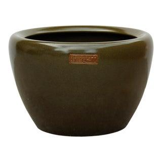 Chinese Ceramic Olive Green Glazed Round Planter Pot