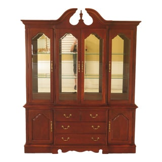 1990s Vintage Thomasville 4 Door Cherry Breakfront China Cabinet For Sale