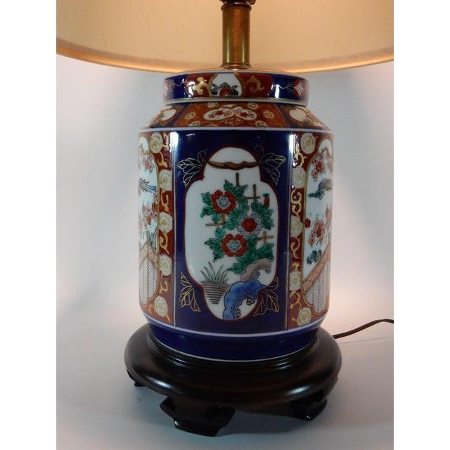 Japanese Imari Ginger Jar Lamp & Silk Shade For Sale - Image 5 of 9