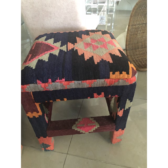 Vintage Boho Kilim Rug Upholstered Benches Stools Ottomans -A Pair For Sale - Image 10 of 13
