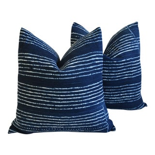 "Boho Chic Indigo Blue & White Mali Tribal Feather/Down Pillows 22"" Square - Pair"