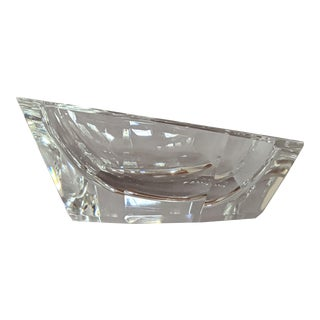 1980s Clear Cut Crystal Ashtray For Sale