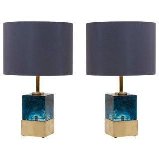 Pair of Brass and Murano Glass Cube Table Lamps For Sale
