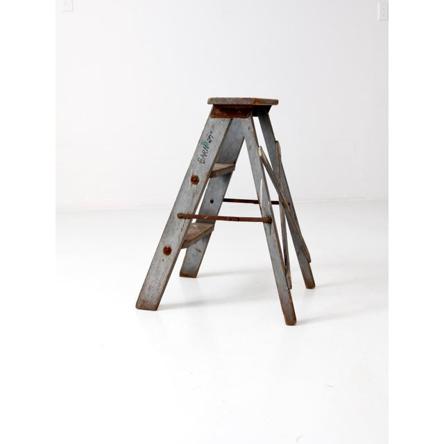 Mid 20th Century Vintage Wooden Step Ladder For Sale - Image 5 of 12