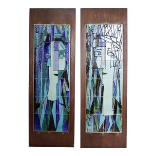 2 Harris Strong Ceramic Tiled Wall Panels Mid Century Wall Art For Sale