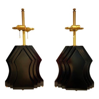 Sculptural Wood Lacquered Lamps - a Pair For Sale
