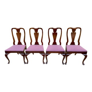 Vintage Set of Four Solid Cherry Queen Anne Dining Chairs For Sale