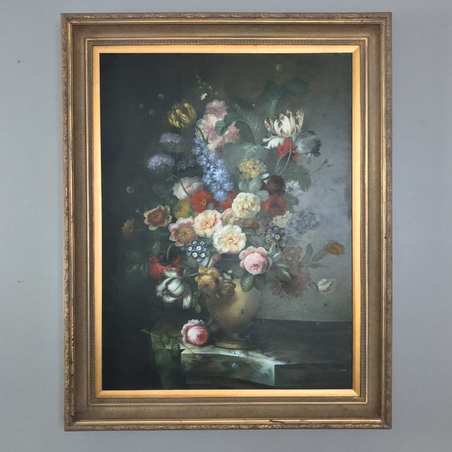 Traditional Late 20th Century Nancy Lee Floral Still Life Oil on Canvas Painting For Sale - Image 3 of 11