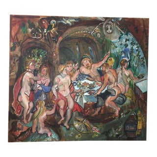 Signed Large Baroque Ornate Feast Oil Painting For Sale
