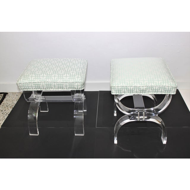 Mid-Century Modern Hollis Jones Style Lucite U Benches Stools 1940s - Newly Upholstered - a Pair For Sale - Image 3 of 12