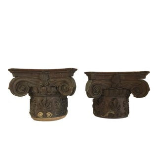 Ionic Wood Capitals - a Pair