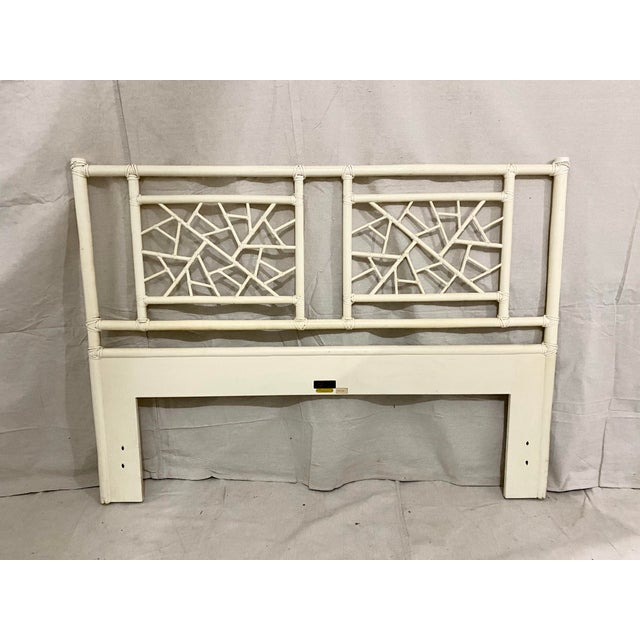 """Vintage McGuire Full Size """"Cracked Ice"""" Rattan Headboard For Sale - Image 10 of 10"""