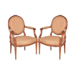 19th Century Italian Antique French Louis XVI Style Armchairs - a Pair For Sale