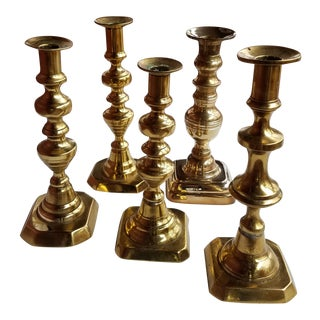 Antique 19th Century English Brass Assembled Candlesticks - Set of 5 For Sale