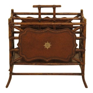 1990s Vintage Maitland-Smith Bamboo & Leather Magazine Rack For Sale