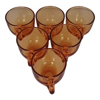 Midcentury Amber Glass Tea cups S/6