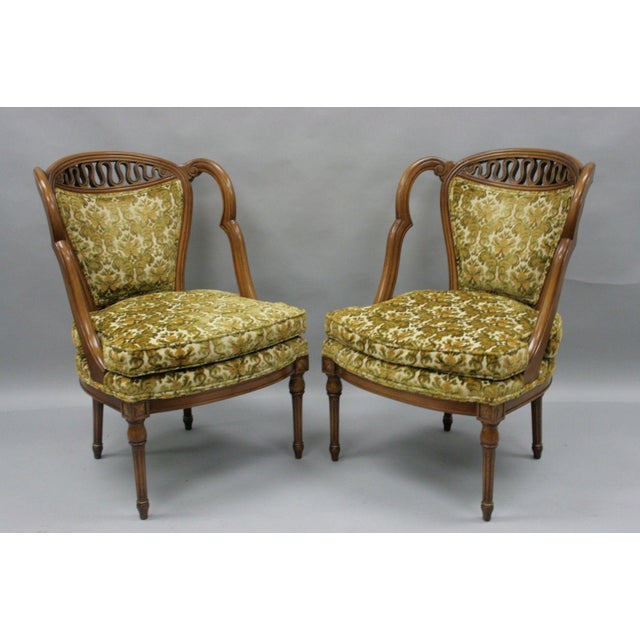 Hollywood Regency Pair of Vintage Hollywood Regency French Style Squiggle Loop Back Living Room Chairs For Sale - Image 3 of 11