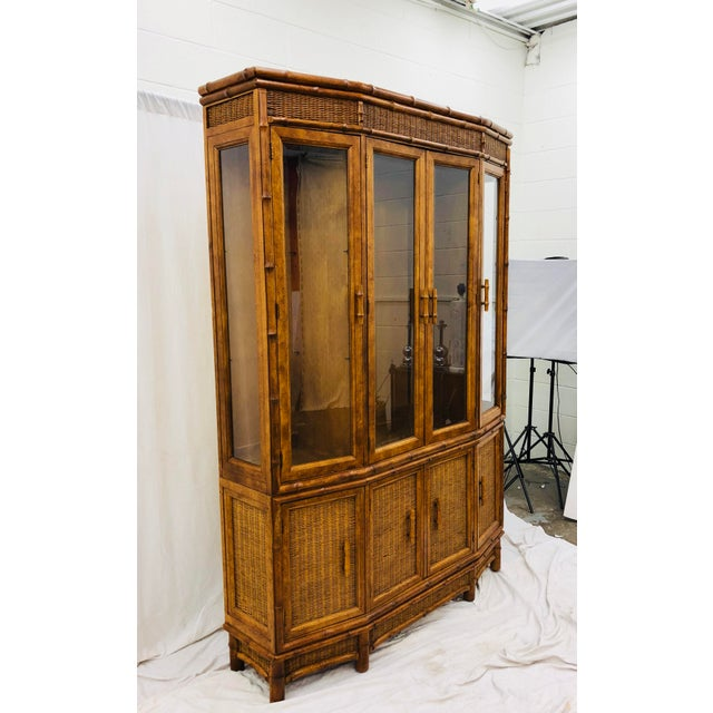 Vtg Faux Bamboo & Wicker Hutch For Sale In Raleigh - Image 6 of 13
