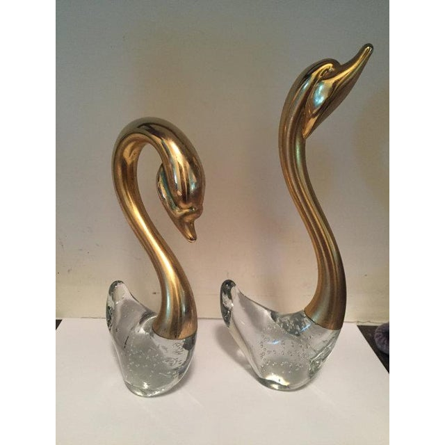 Brass & Crystal Swans - A Pair For Sale - Image 4 of 6