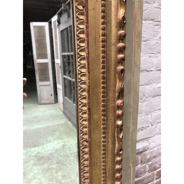Late 18th Century A North Italian Gilt Wood and French Olive Painted Trumeau Mirror, 18th Century For Sale - Image 5 of 10