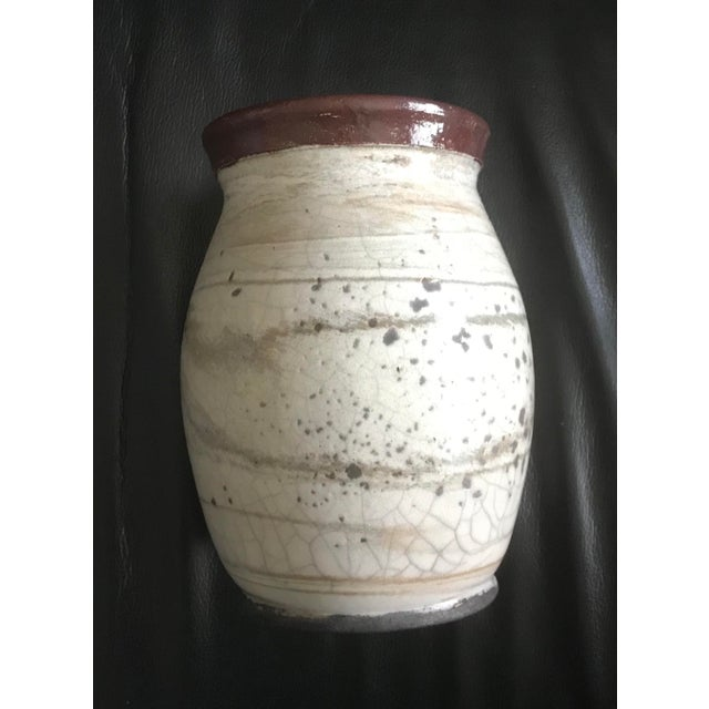 Cream Spotted Studio Pottery Vase - Signed For Sale In San Diego - Image 6 of 6