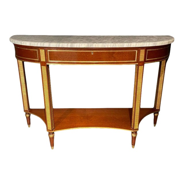 Russian Neoclassical Console / Sofa Table or Sideboard, Demilune For Sale