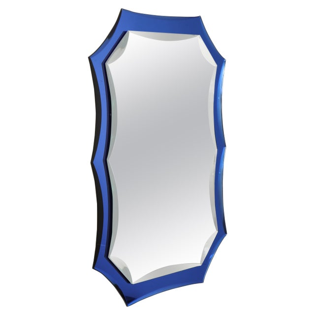 Glass Vintage Mid-Century Modern Mirror With Cobalt Blue Borders For Sale - Image 7 of 7
