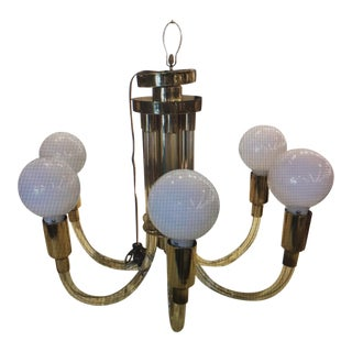 Charles Hollis Jones 6-Arm Chandelier in Brass and Lucite