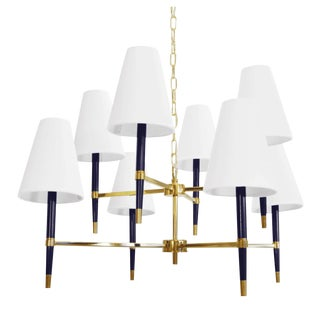 Worlds Away Modern Two-Tier Navy and Brass Finish Hines Chandelier For Sale