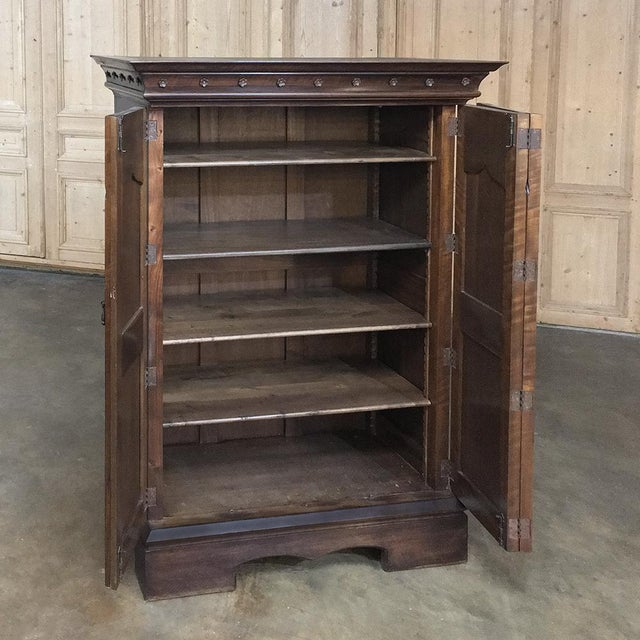 Brown 19th Century French Gothic Solid Walnut Armoire ~ Bonnetiere For Sale - Image 8 of 13