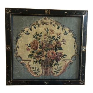 19th Century French Aubusson Floral Tapestry Cartoon Cartone Framed For Sale