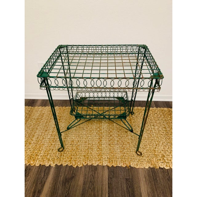 Mid-Century Modern Victorian Iron Scroll Garden Patio Table With Tray For Sale - Image 3 of 13