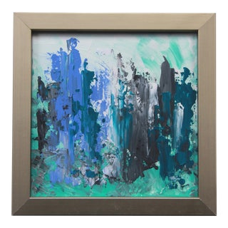 Abstract Blue Painting by C. Plowden For Sale