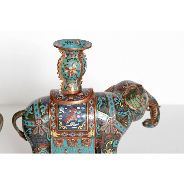 Pair of Chinese Cloisonne Elephants For Sale - Image 9 of 13