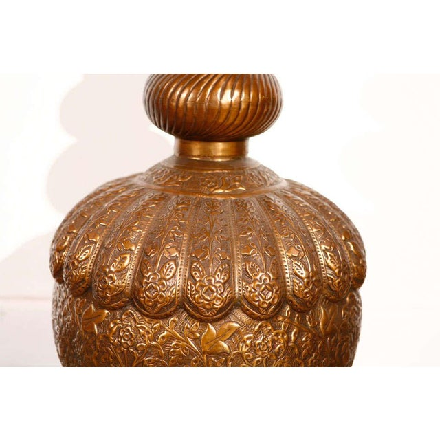 Islamic Moroccan Vintage Brass Embossed Table Lamp For Sale - Image 3 of 8