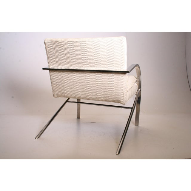 Vintage Chrome Upholstered Arm Chair by Bernhardt Flair - Image 7 of 11