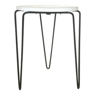 Florence Knoll Hairpin Stool or Side Table With White Laminate Top For Sale
