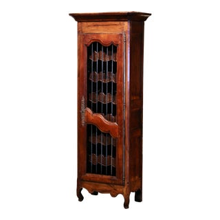 19th Century French Louis XV Carved Walnut Thirty Five Wine Bottles Cabinet For Sale